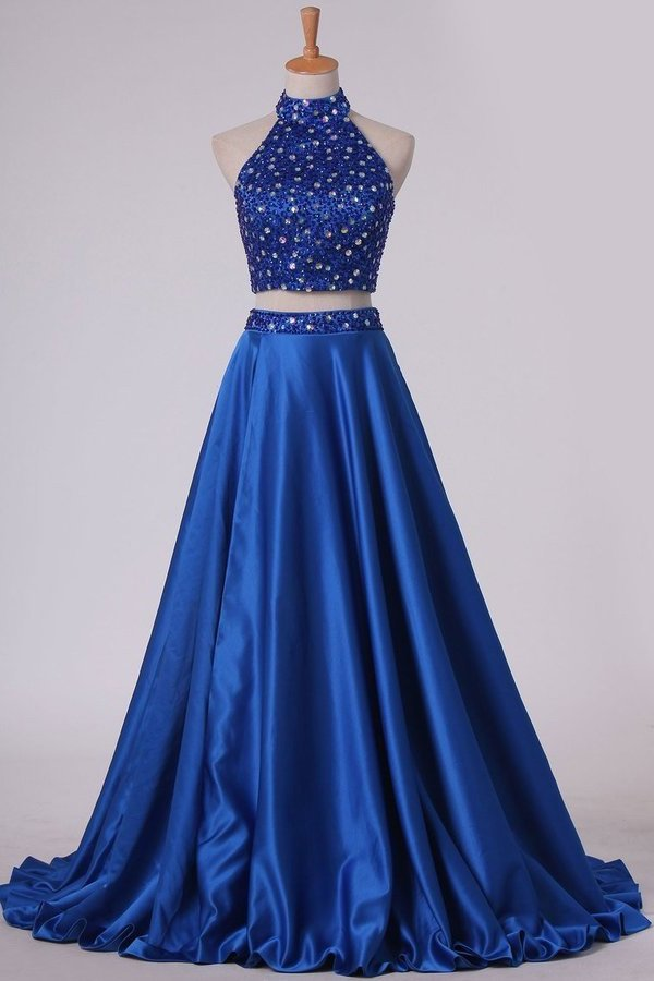 2020 Two Pieces High Neck A Line Prom Dresses Beaded Bodice Satin P69BLANY