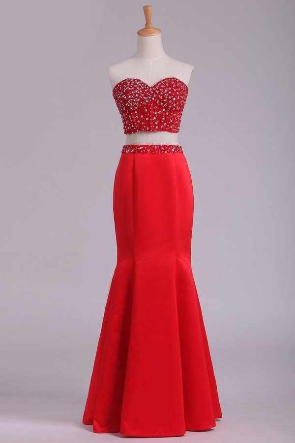2020 Sweetheart Beaded Bodice Two-Piece Mermaid Prom PXGB9R91