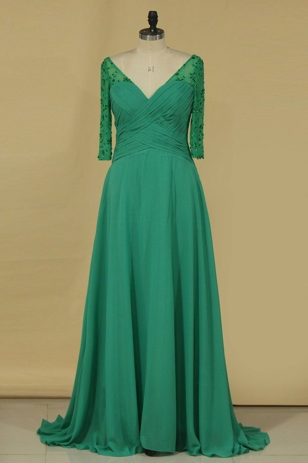 2020 V Neck Mother Of The Bride Dresses Chiffon With Beads And Ruffles PQQ15625