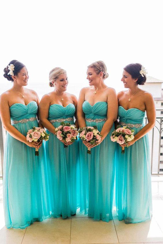 Sweetheart Strapless Tulle Turquoise Bridesmaid Dresses Beaded Wedding Party STH20473