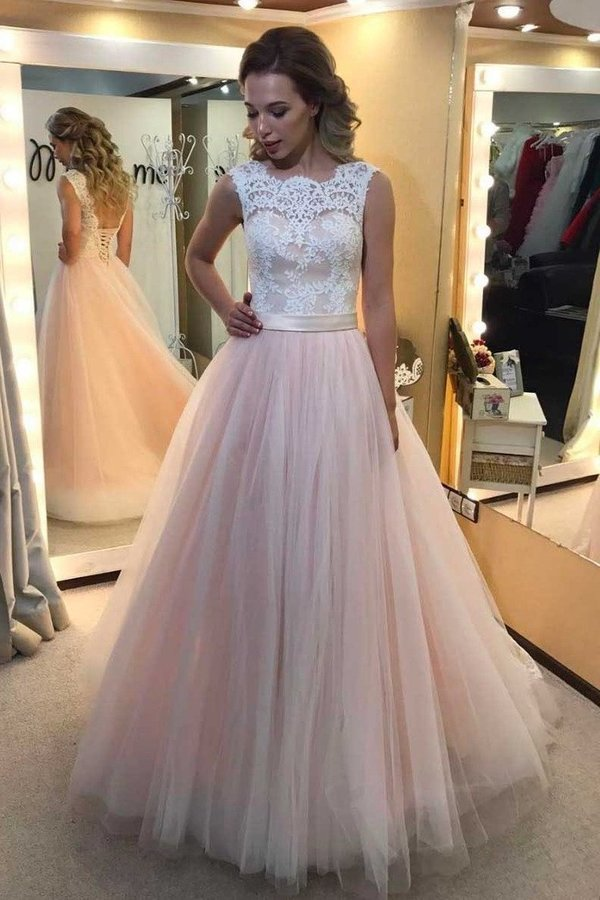 2020 Scoop Tulle With Applique And Sash A Line Lace PTZCY9KK