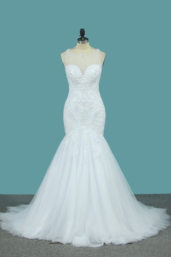 2020 Tulle Mermaid Scoop Wedding Dresses With P9M24EPH