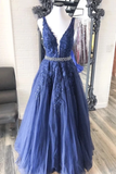 A-Line V Neck Appliques Floor Length Prom Dresses Tulle Evening STHPG7XXJK9