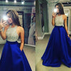 New Arrival Crew Neck Gold Sequins Black Satin Backless Sleeveless Prom Dresses
