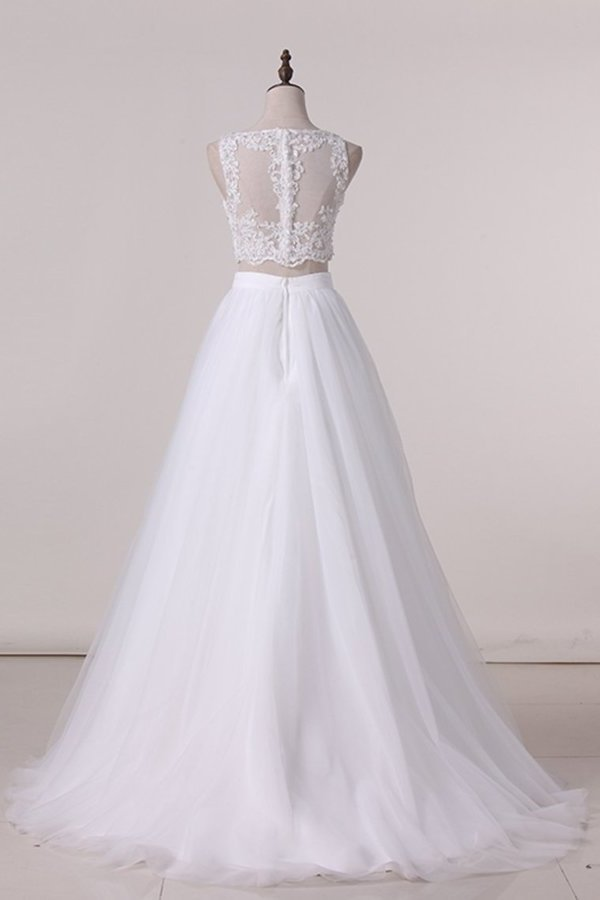 2020 Two-Piece Scoop A Line Wedding Dresses Tulle P1B53SPH