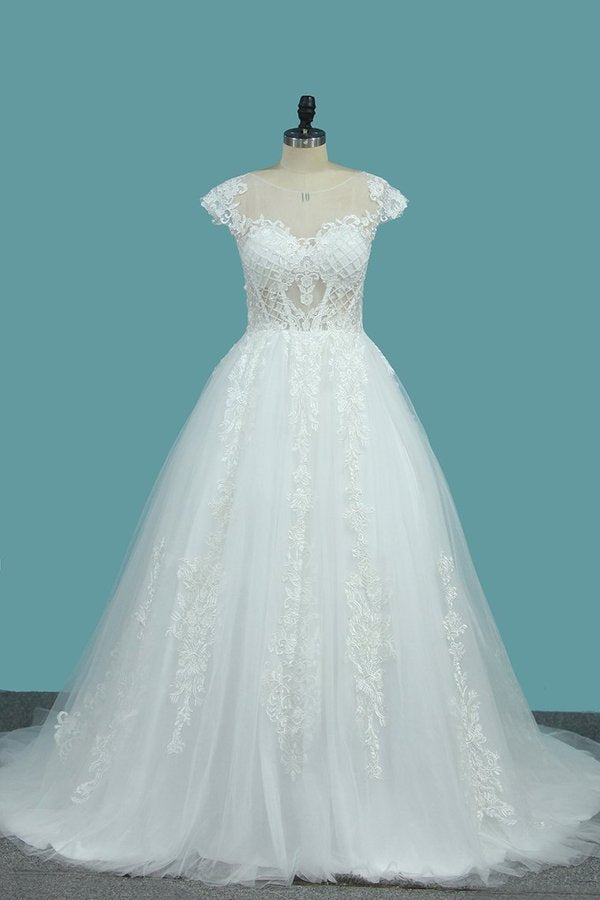 2020 Scoop Short Sleeves Tulle A Line Wedding Dresses With P9QEPEMT