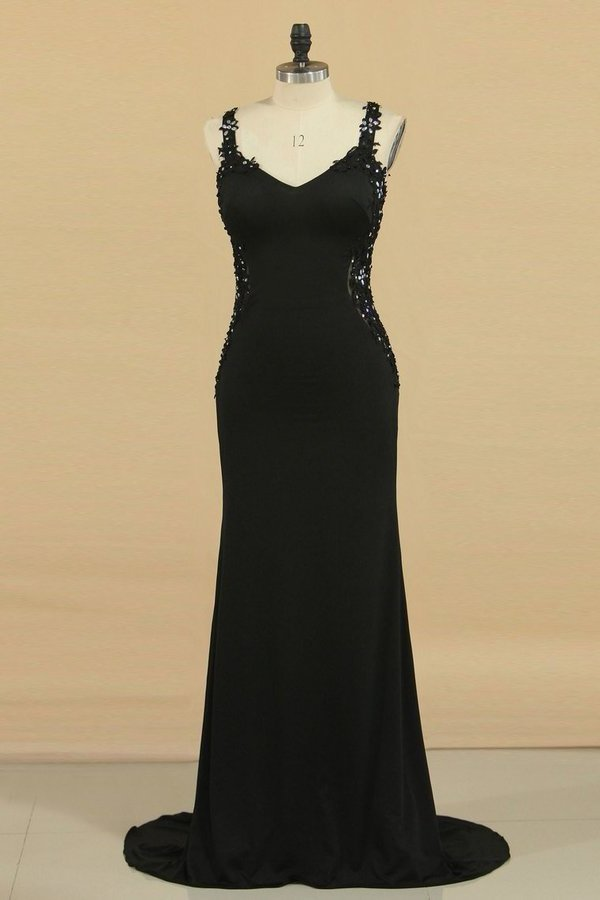 2020 Spaghetti Straps Prom Dresses Sheath/Column Spandex & Tulle With P2TR5FT9