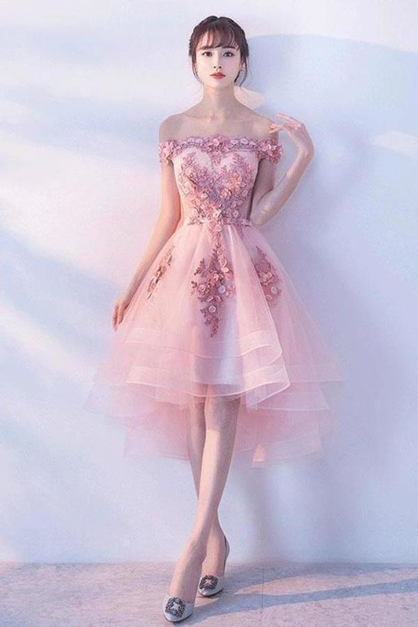 Pink Lace Tulle Short Prom Dress Off-the-Shoulder Appliques Lace up Homecoming Dresses STHPST13190