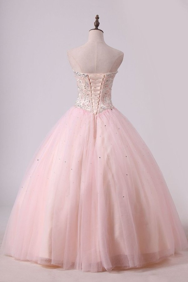 Ball Gown Tulle With Beading Floor Length Quinceanera PX6J4D27