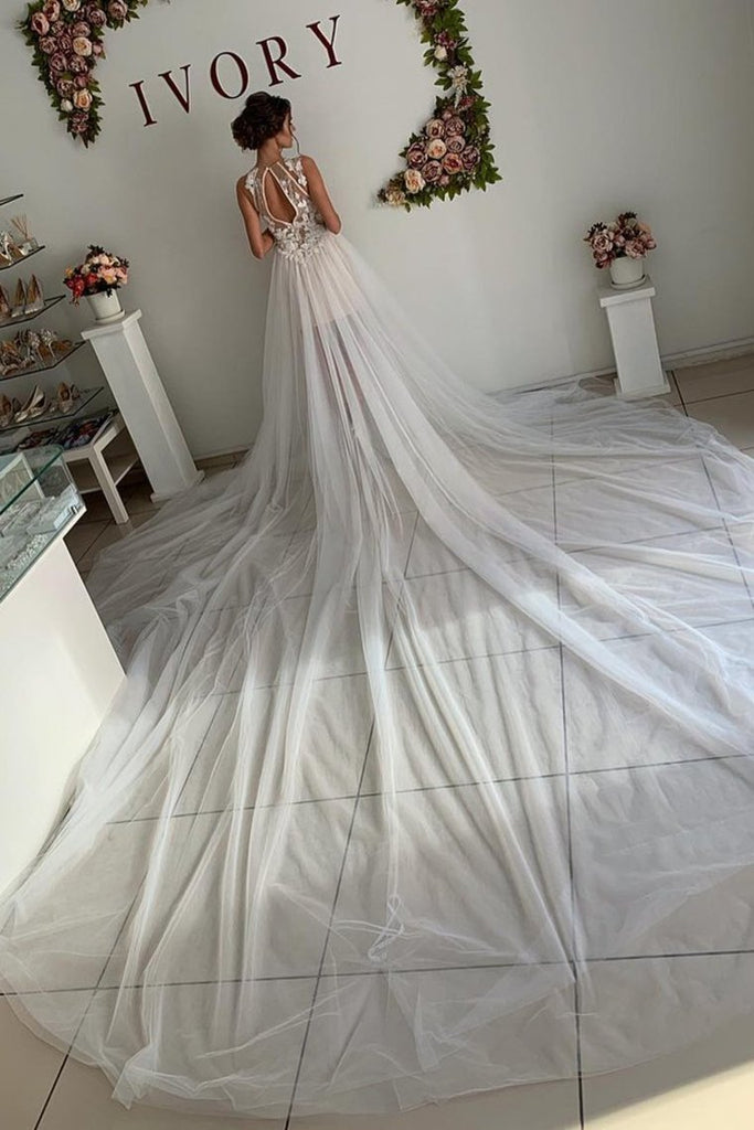 A Line Appliques Ivory Open Back Wedding Dresses Long Beach Bridal STHP2PKLXCG