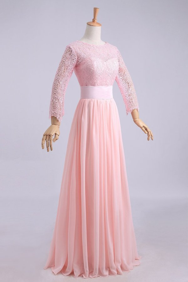Bridesmaid Dresses A-Line Scoop Lace And Chiffon P746HMML