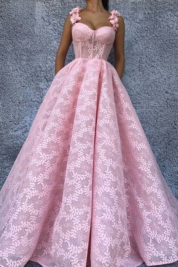 2020 Straps Prom Dresses A Line Lace With Handmade P9YF56AM