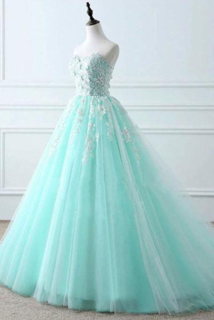Sweetheart Puffy Tulle Prom Dress With Lace Appliques Long Graduation STHPKFJ5ZSA