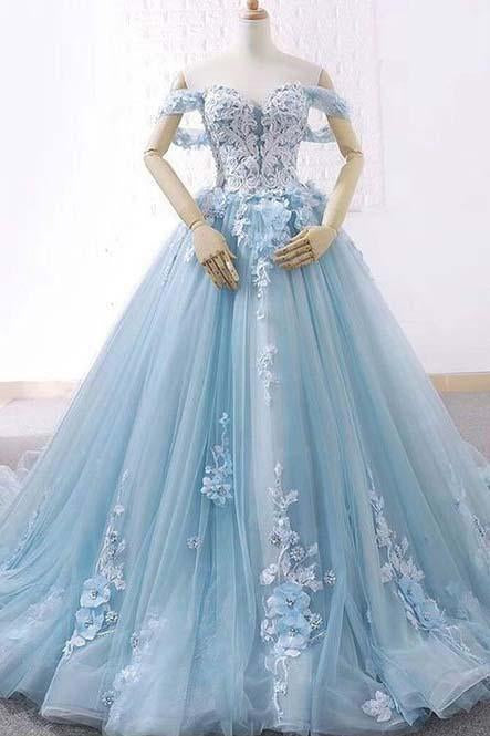 Princess Light Blue Sweetheart Tulle Appliques Off the Shoulder Ball Gown Prom Dresses