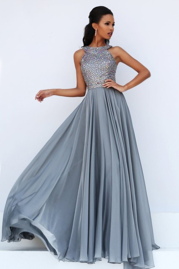 2020 Scoop Prom Dresses Chiffon With Beading A Line PQBB7282