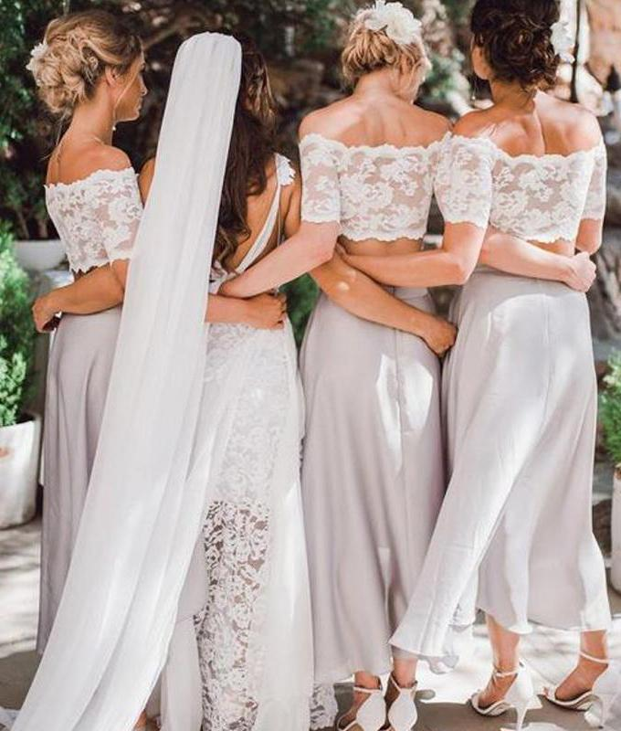 Two Pieces Lace Top Short Sleeve Off-the-Shoulder Beach Affordable Bridesmaid Dresses