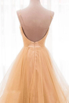Spaghetti Straps V Neck Sparky Long Prom Dress Backless Pleated Tulle Party STHPBA8153J