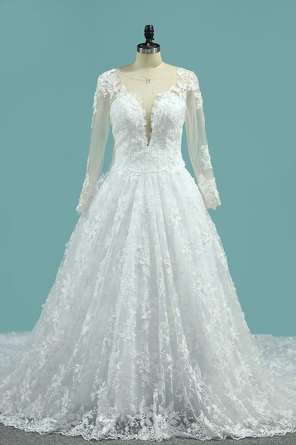 2020 Scoop Long Sleeves Wedding Dresses A Line Tulle With PMRT94PD