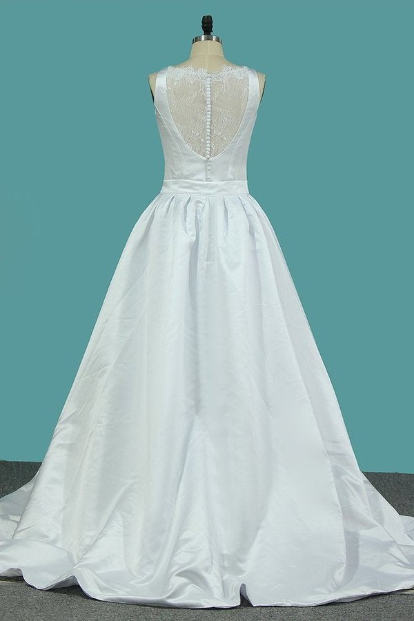 2020 Scoop Satin A Line Wedding Dresses With PCH6DCXX