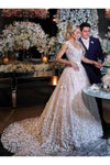 Elegant A-Line V-Neck Sweep Train Ivory Wedding Dress P834QN6D