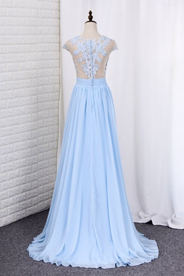 2020 Scoop Prom Dresses A Line Chiffon With P6XN764Q