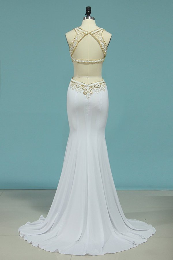 2020 Scoop Prom Dresses Mermaid With Beading&Rhinestones Spandex Sweep PF9KPBJX