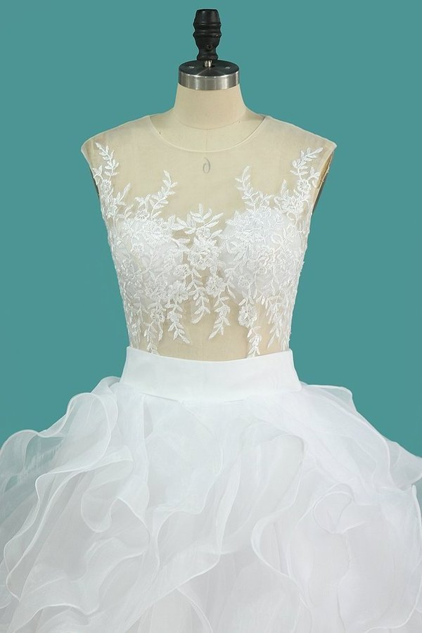2020 Scoop Tulle With Applique Detachable Wedding P6CEYH77