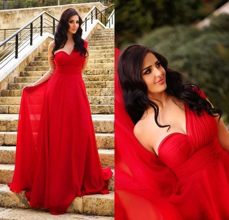 Long Elegant Chiffon A-Line One Shoulder Simple Red Sweetheart Backless Pleat Prom Dresses