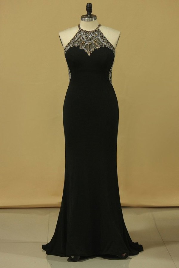 2020 Scoop Sheath Floor Length Prom Dresses Spandex P5LHCRKX