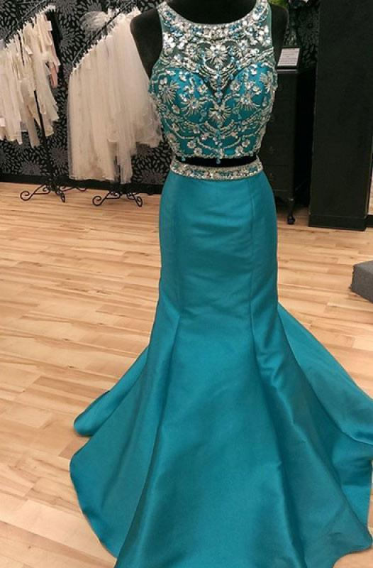 Two Pieces Beading Bodice Floor Length Prom Dresses Evening