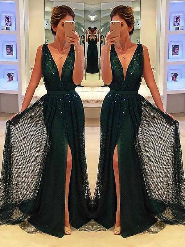 Sheath Deep V-Neck Sweep Train Dark Green Lace Sleeveless Prom Dress with Split Sequins