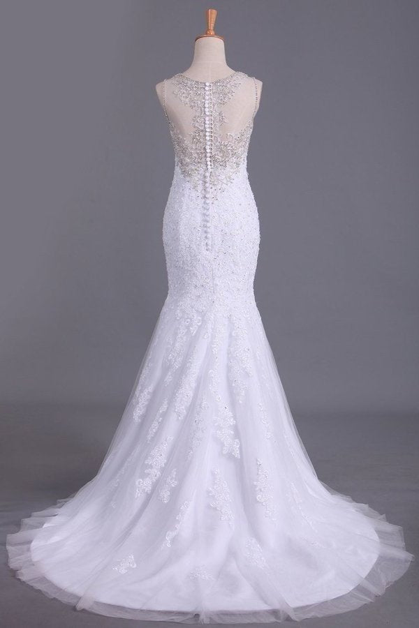 2020 Scoop Wedding Dresses Mermaid/Trumpet Sweep Train Tulle With Applique PMF2LKQH