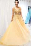 A Line Floor Length Tulle Prom Dress With Sequins Cheap V Neck Long Formal STHP1NJG7JC