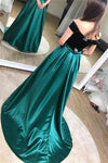 Unique A line Black And Green Long Elegant Off the Shoulder Satin Prom Dresses