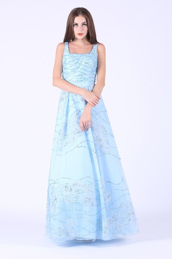2020 Tulle Square With Beading A Line Floor Length PB7YBZCC