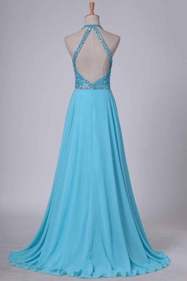2020 Sexy Open Back Halter Chiffon & Tulle With Beading A Line PQA15QXA