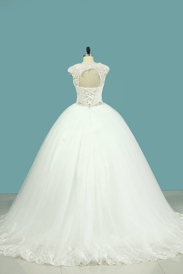 2020 Straps Wedding Dresses Tulle With Applique And P8GAQ5LR