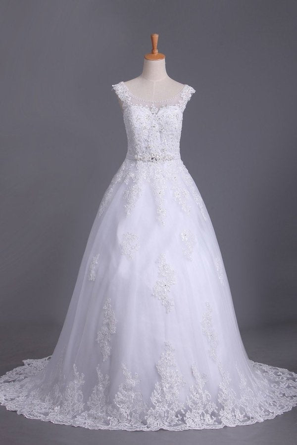 A Line Cap Sleeve Scoop Tulle Wedding Dresses With Applique And P11QB59Q