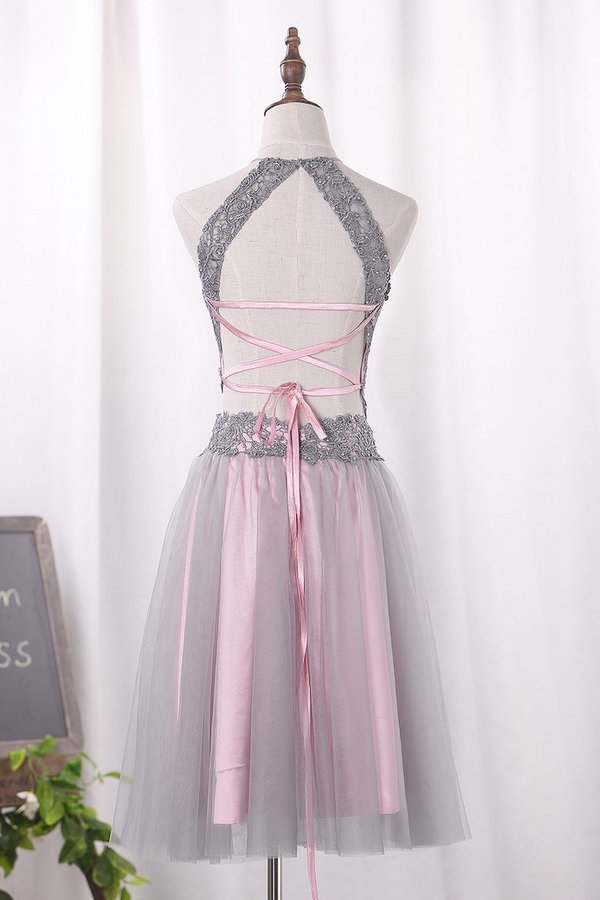 2020 Two Pieces Halter Homecoming Dresses A Line Tulle Short/Mini PRA5BHPC