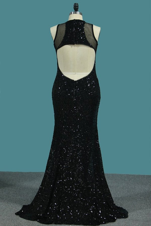 2020 Sheath Scoop Sequined Bodice Prom Dresses P1XBZAZY