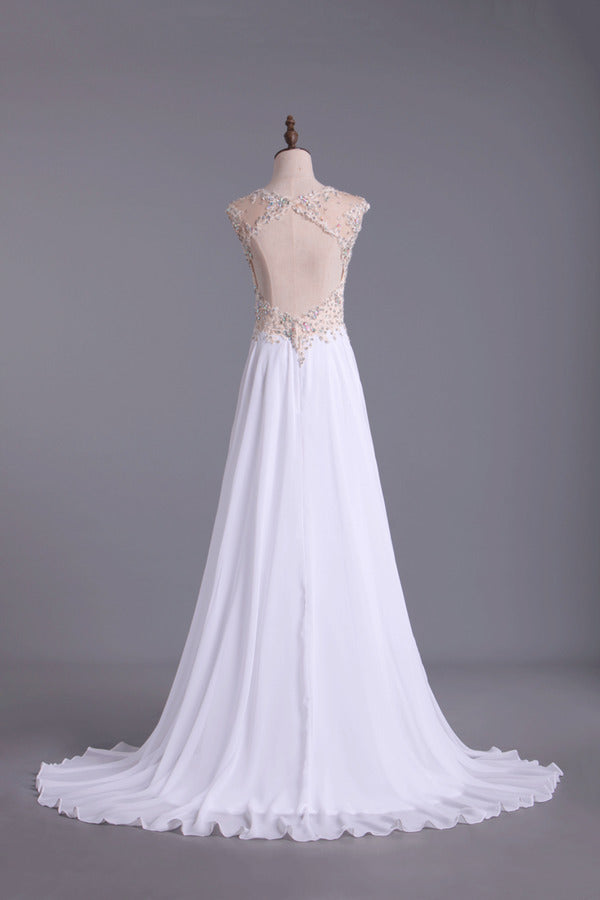 2020 Scoop Neckline Off The Shoulder Prom Dresses White Floor Length Chiffon With PP2CZ3Z5