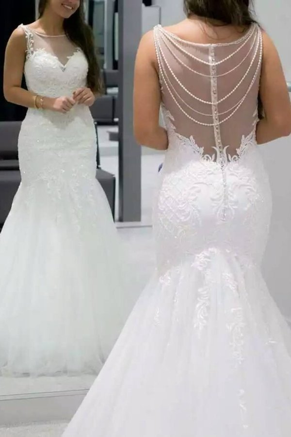 2020 Scoop Mermaid Tulle Wedding Dresses With P66ZX6TX
