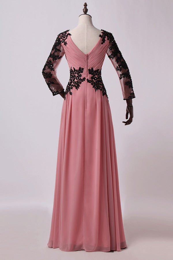 2020 V Neck Prom Dresses A Line Floor Length Chiffon PLKH8QJ3