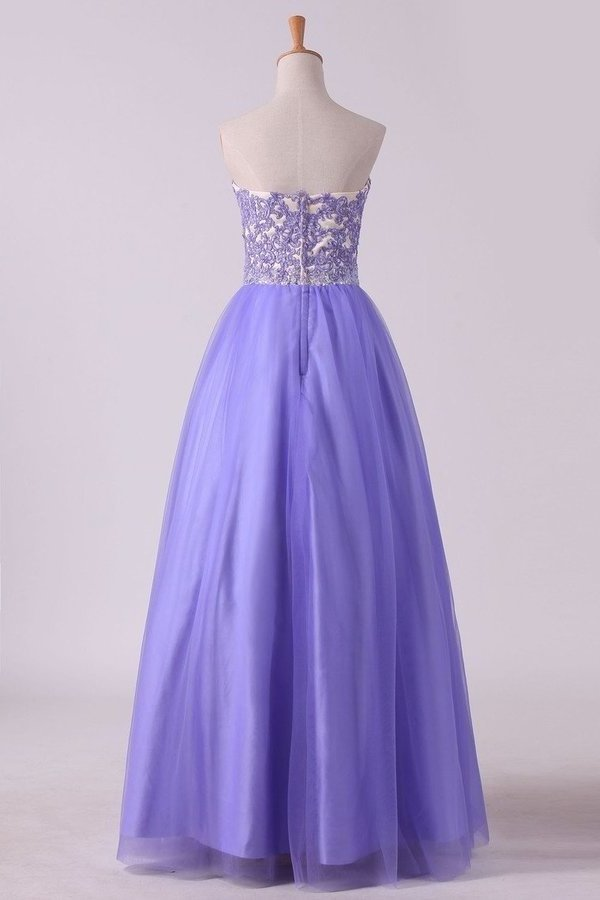 2020 Sweetheart A Line Tulle Prom Dresses With Applique PQHMKTZC