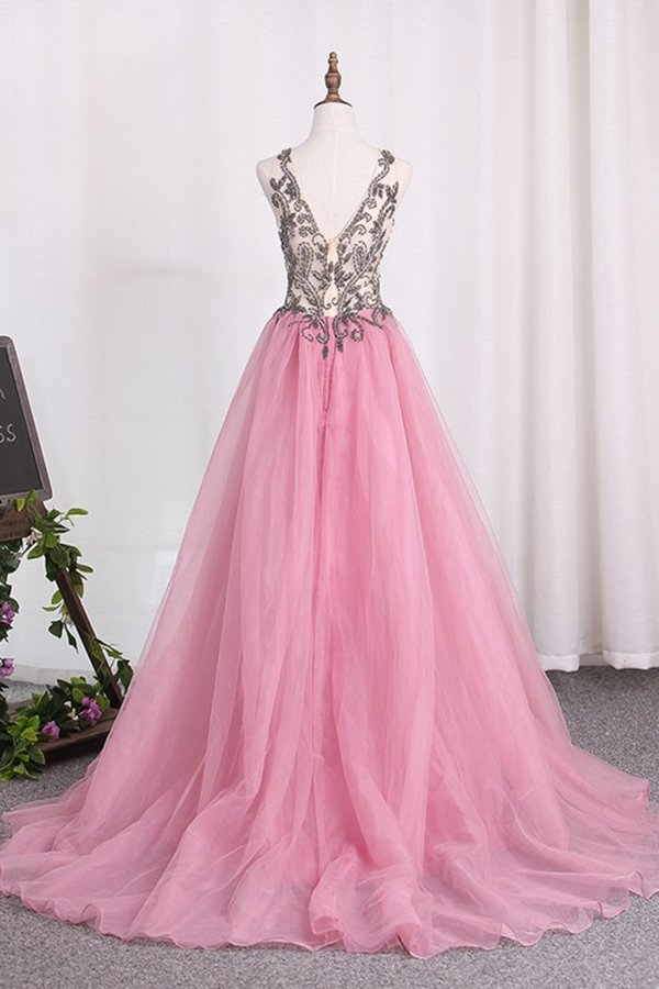 2020 Straps Prom Dresses A Line Tulle With Beading And P862L219