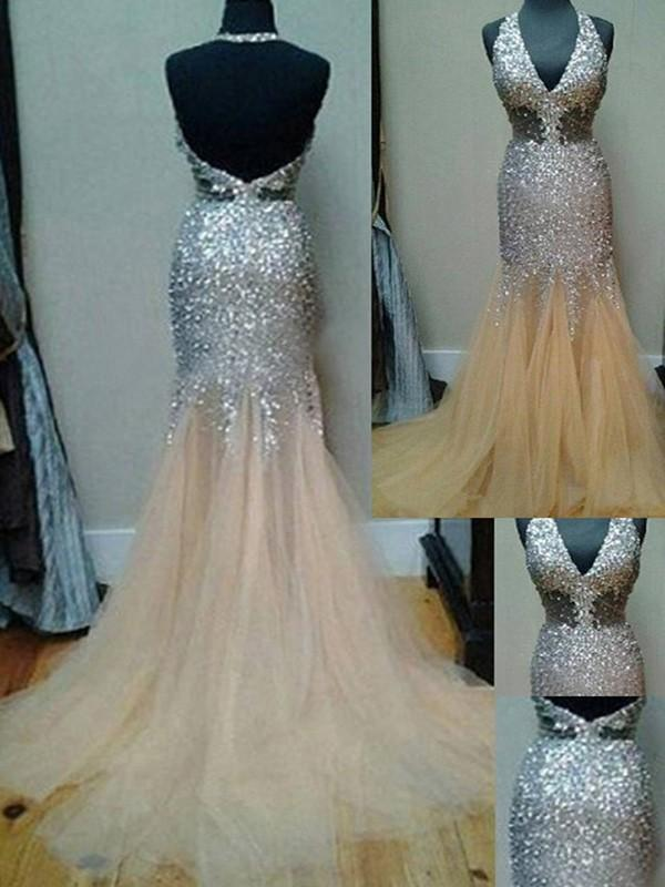 Sexy Unique Deep V Neck Mermaid Sexy Tulle Halter Backless Beads Prom Dresses