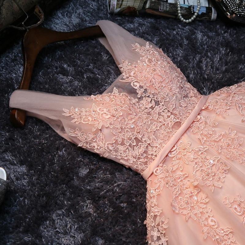 Lace Appliqued Tulle Blush Pink Short Prom Dress Sweet 16 Dress