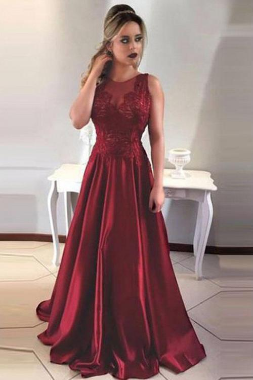 Simple A-Line Round Neck V-Back Maroon Satin Sleeveless Prom Dresses with Lace