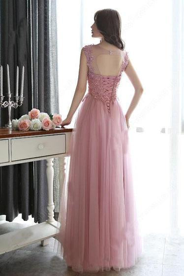 Modest Scoop Neck Tulle Pearl Detailing Lace-up Floor-length Sleeveless Prom Dresses
