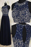Navy Blue Elegant Long Beaded Chiffon Pageant Formal